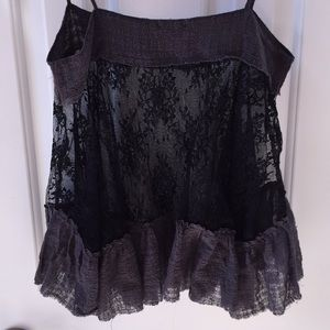 Free People Intimately Gauzy gray cami/black lace